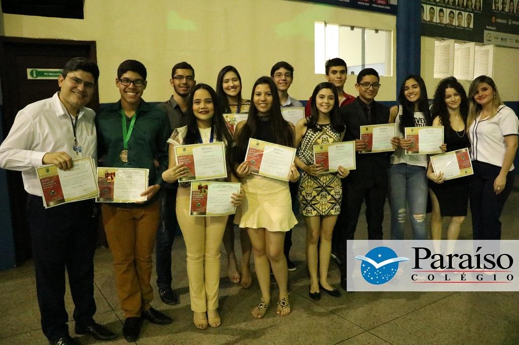 Quinze alunos do Colégio Paraíso recebem a premiação da Olimpíada Cearense de Ciências 2017