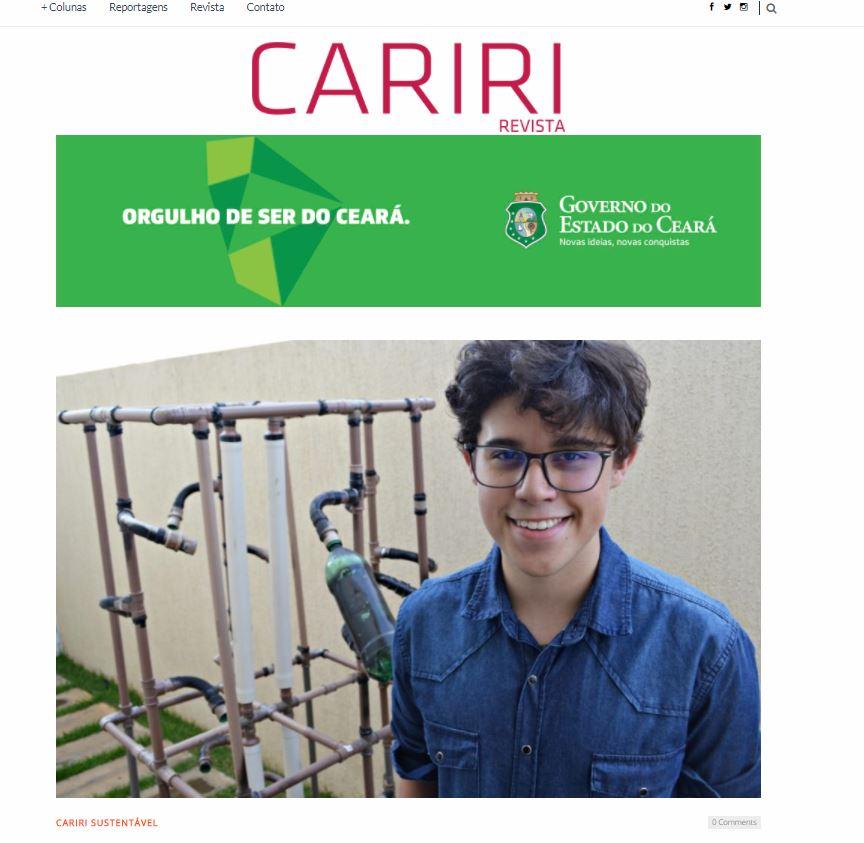 Estudante do Colégio Paraíso desenvolve sistema de dessalinização exclusivo, sustentável e de baixo custo