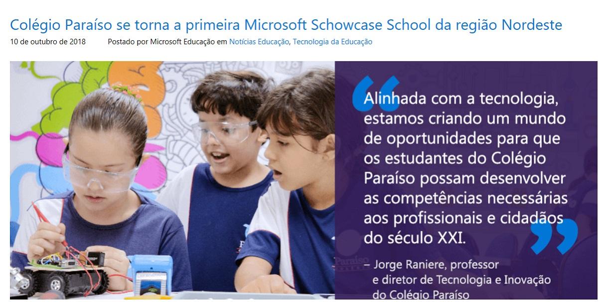 Colégio Paraíso se torna a primeira Microsoft Schowcase School da região Nordeste