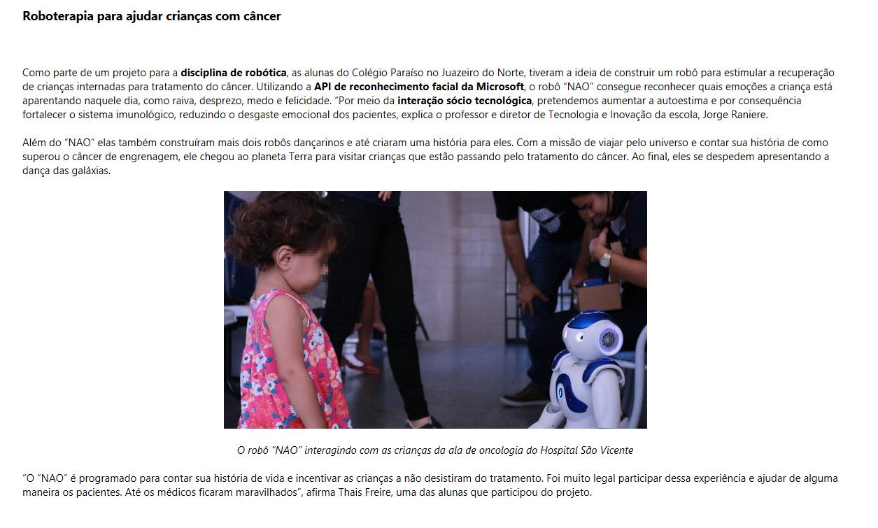 Projeto de estudantes da Robótica do Colégio Paraíso é destaque em reportagem da Microsoft