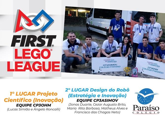 Equipes da Robótica Paraíso conquistam o 1º e 2º lugar na First Lego League