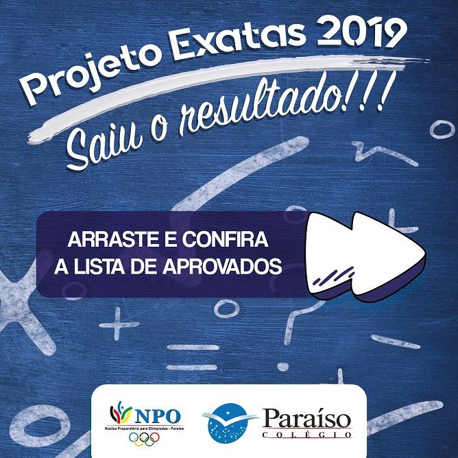 Resultado do Projeto Exatas 2019