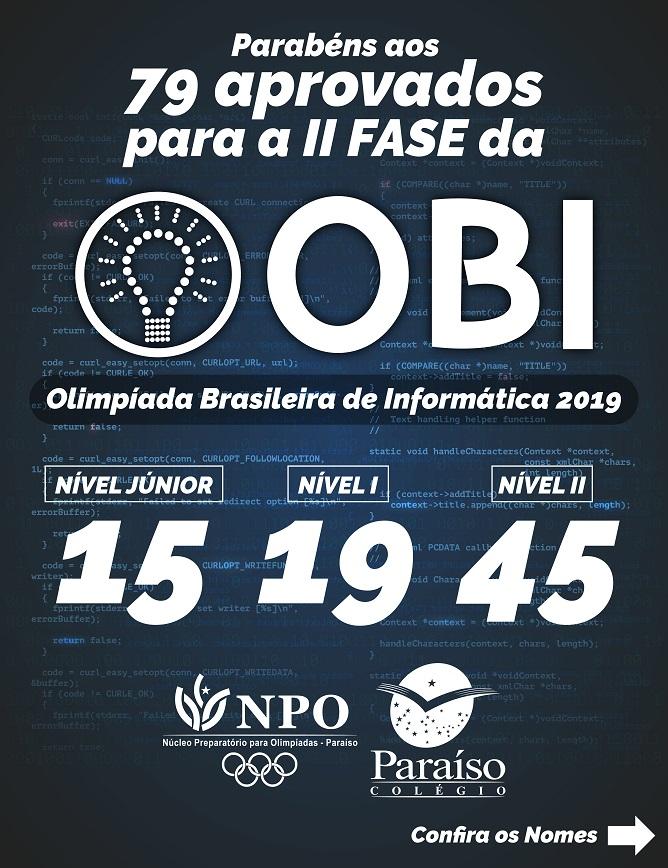Estudantes Classificados para a II fase da Olimpíada Brasileira de Informática 2019
