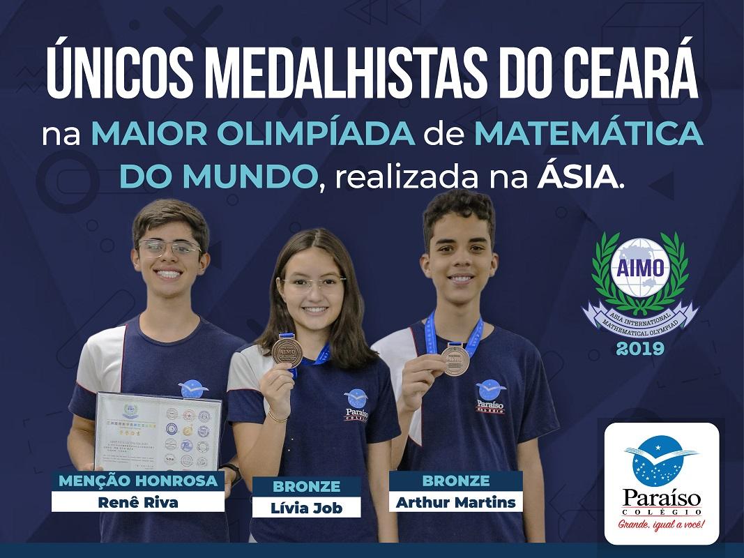 Únicos do Ceará: estudantes do Colégio Paraíso conquistam medalhas na Maior Olimpíada de Matemática do Mundo