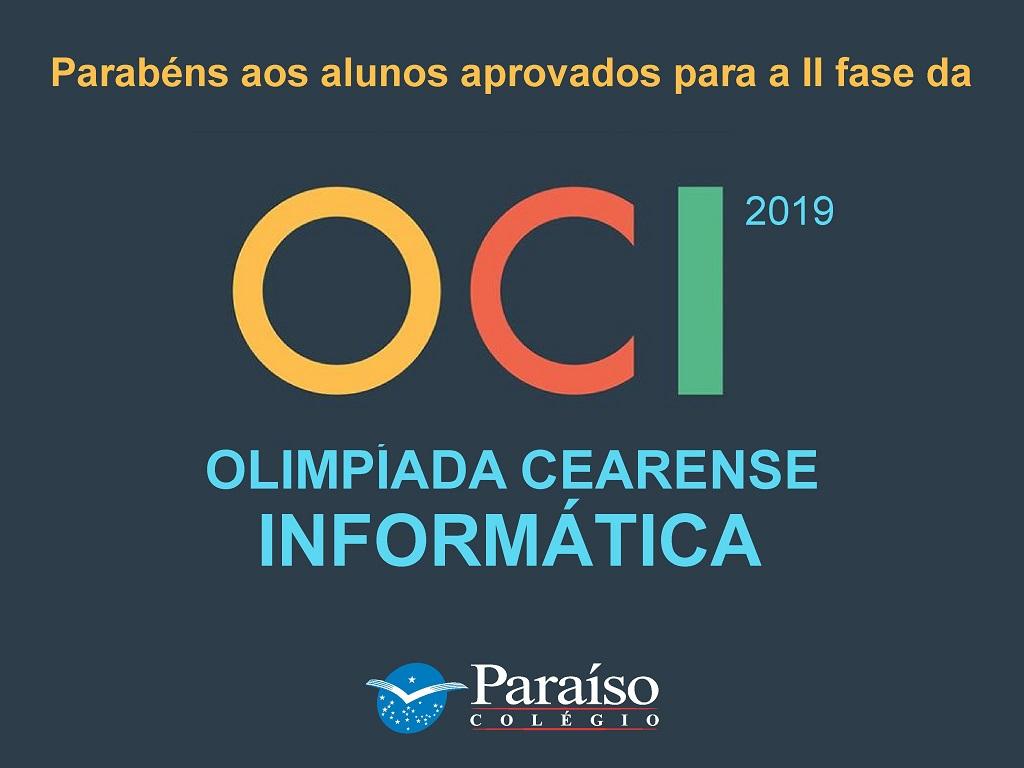 Estudantes classificados para a II fase da Olimpíada Cearense de Informática 2019