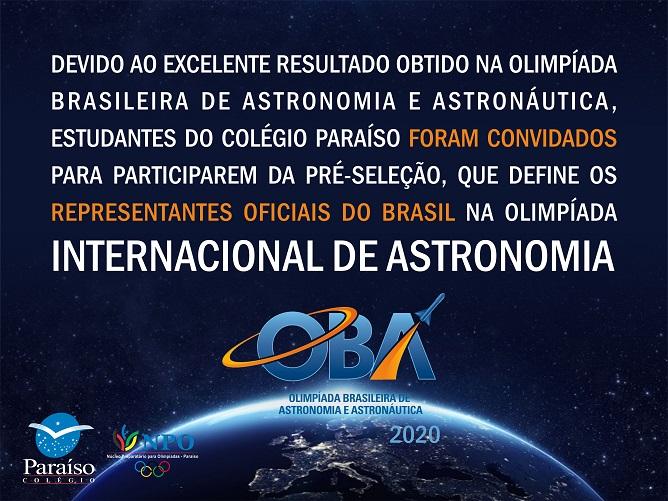 Pré-Seleção para Olimpíadas Internacionais de Astronomia 2020