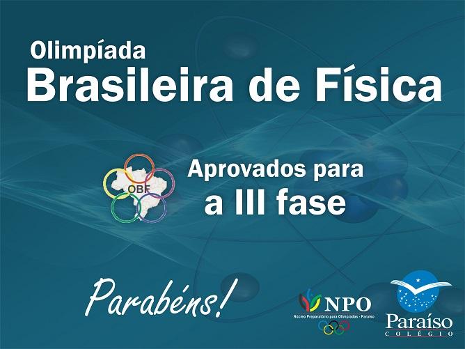 Estudantes classificados para a III fase da Olimpíada Brasileira de Física 2019
