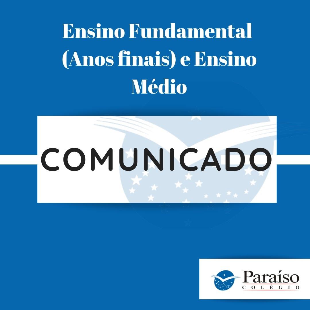 Médias 1º Bimestre - Ensino Fundamental (Anos finais) e Ensino Médio