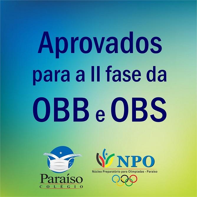 Listas de aprovados para a II fase da OBB e da OBS 2020