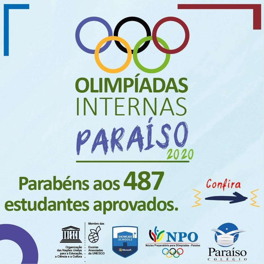 Alunos aprovados na Olimpíada Interna do Colégio Paraíso - Ensino Fundamental.