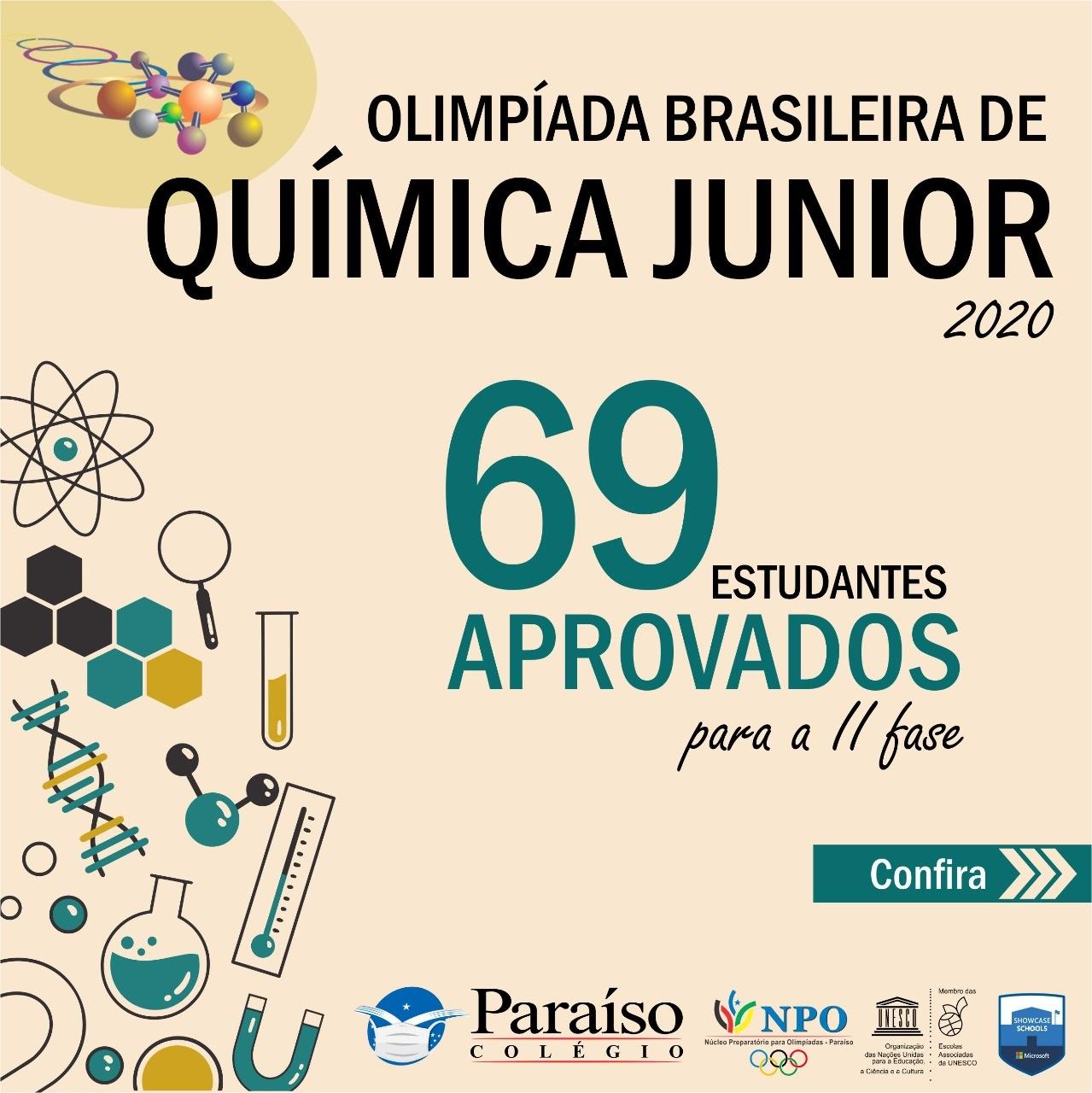 Lista de aprovados para II fase da Olimpíada Brasileira de Química Júnior 2020